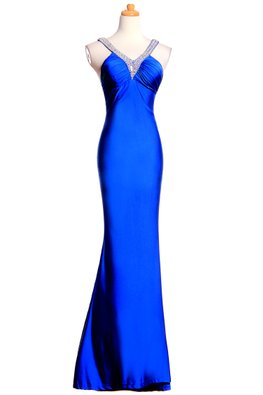 Assorted Colours V-Neck Sequin Back Floor-Length Gown