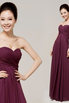 Purple Floor Length Sweetheart A-Line Gown