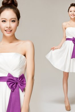 White Strapless Straight Across A-Line Purple Bow Sash Gown (Express)