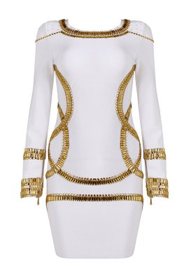 Black/White Gold Gems Embellishment Long Sleeves Bandage Dress