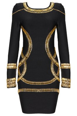 Black Gold Gems Embellishment Long Sleeves Bandage Dress (Express)