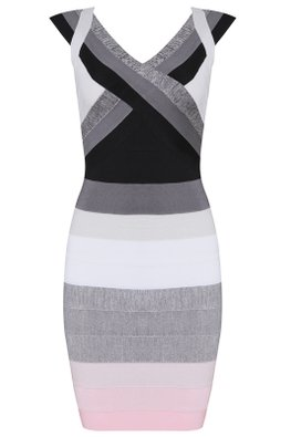Gradient Black with Pink Dash V-Neck Bandage Dress