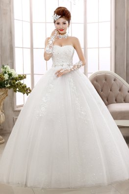 Sweetheart Glitter Lace-Up Wedding Ball Gown