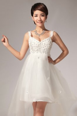 V-Neck Rosette Bodice Empire A-Line Tulle Gown with Sweep Train