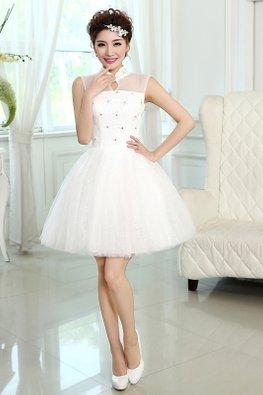 Mandarin Collar Illusion Neckline Glitter Skirt Tulle Gown