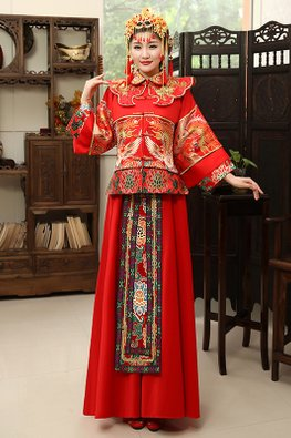 Red Traditional Pheonix Embroidery Wide Sleeves Kua