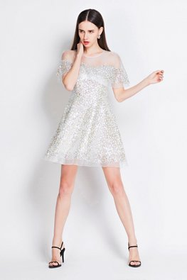 Silver Sequins Illusion Neckline Cape Skater Dress