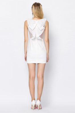 White Jewel Neckline Pleated Bow Dress