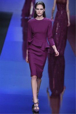 Purple Jewel Neckline Long Sleeve Asymmetrical Peplum Dress (Express)