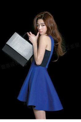 Blue Black Jewel Neckline Sleeveless Hi-Lo Flare Dress