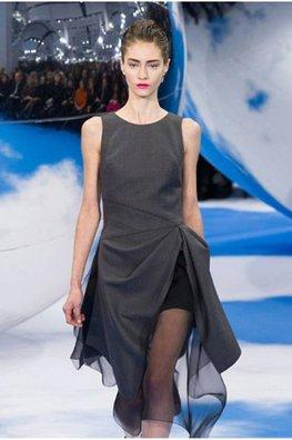 Grey Asymmetrical Drape Dress
