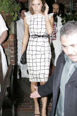Victoria Beckham Black/White Checkered Knee-Length Tie-Belt Dress