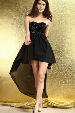 Black / Almond Sequins Strapless Hi-Lo Gown