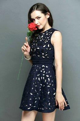 Blue Beaded Embellishments Cut-Out Dress (Express)