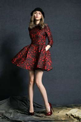 Blue /Red Jewel Neckline 3/4 Sleeves A-Line Print Dress