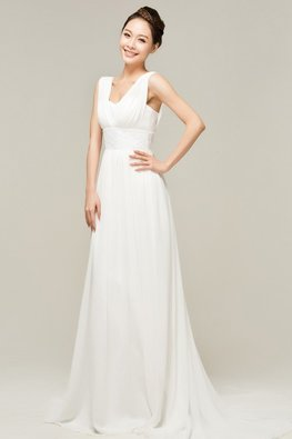 White Sweetheart V-Neck Chiffon Floor Length Gown with Court Train