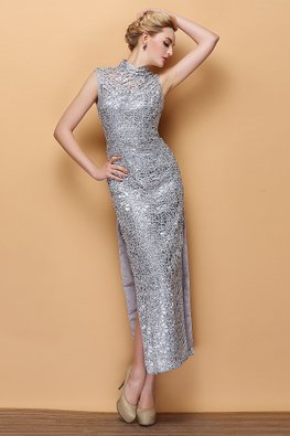Silver Grey Illusion Neckline High Side Slits Sequins Cheongsam