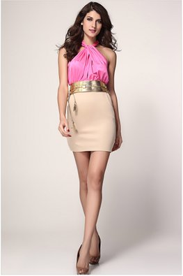 Pink Halter Neck Duo Tone Dress with Belt (Express)