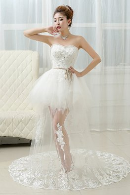 Sweetheart Tulle Mini Gown with Sheer Court Train