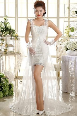 2-piece Sweetheart Lace Gown with V-Neck Sheer Court Train