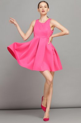 Pink Jewel Neckline Empire Skater Dress