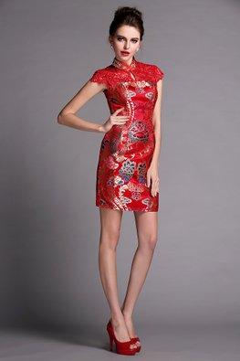 Red Lace with Lotus Print Modern Cheongsam (Express)