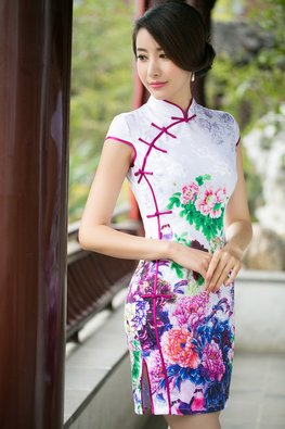 White with Purple / Blue Trimmings Floral Cheongsam