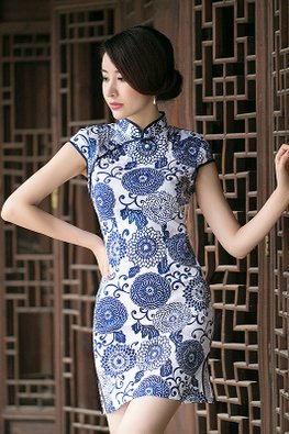 Dark Blue Big Floral Cheongsam