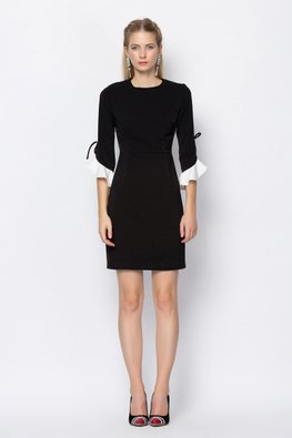 Black Jewel Neckline Pleated Seams Sleeves Dress
