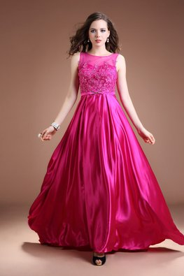 Rose Pink Illusion Neckline Floral Lace A-Line Floor Length Court Train Gown