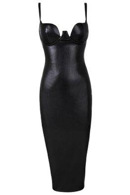 Black PU Leather Brassiere Pencil Dress (Express)