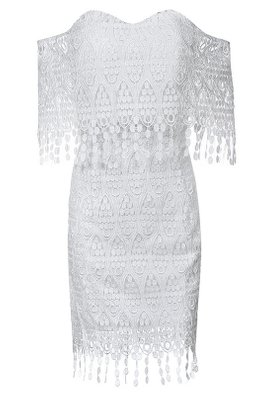 White Sweetheart Off-Shoulder Tassels Lace Dress