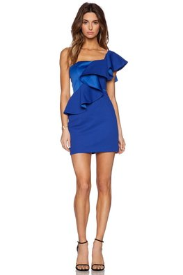 Blue One-Shoulder Wavy Pleats Gown (Express)