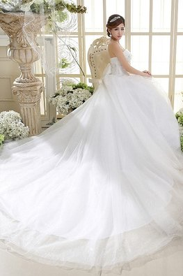 Straight Across A-Line Glitter Skirt Wedding Gown with Chapel Train