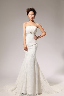 White Straight Across High Waist Trumpet Lace Gown with Court Train