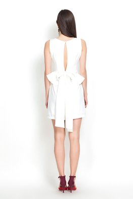 White Jewel Neckline Slit Back Ribbon Dress