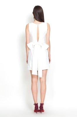 White Jewel Neckline Slit Back Ribbon Dress