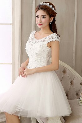 White Wide Shoulder Rosette Lace Mini Gown