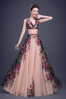 Peach V-Neck Pleated Enchanted Gardens Gown