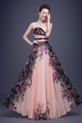 Peach Sweetheart Pleated Bodice Enchanted Gardens Gown (Express)