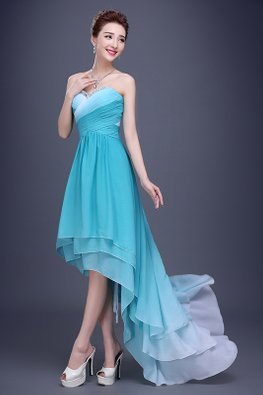 Green Sweetheart Gem Pleated Bodice Hi-Lo Gown