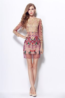 Purple Gold Embroidery Jewel Neckline 3/4 Sheer Sleeves Ethnic Dress