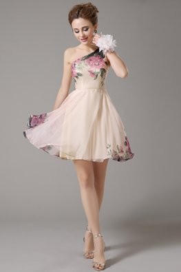Peach One-Shoulder Enchanted Gardens Mini Gown