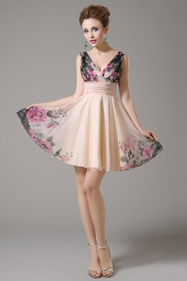 Peach V-Neck Enchanted Gardens Mini Gown