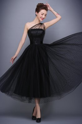 Black One-Shoulder Polka Dots A-Line Gown