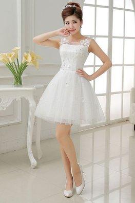 Illusion Neckline 3D Flower Petals A-Line Glitter Mini Gown