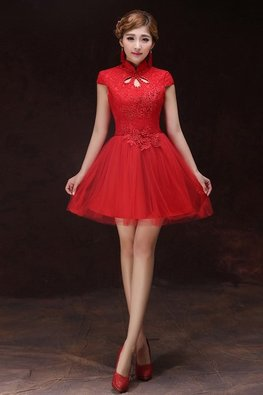 Red Mandarin Collar Dew Cut-Out Applique A-Line Gown