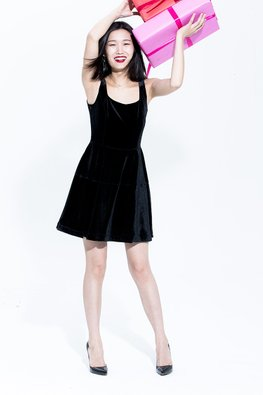 Black Square Neckline Velvet Dress (Express)