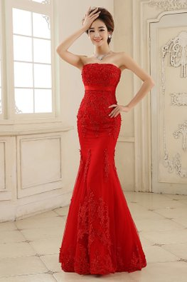 Red Straight Across Trumpet Lace Gown (Express)