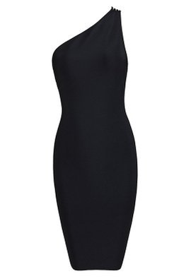 Black / Almond One-Shoulder Back Straps Bandage Dress (Express)